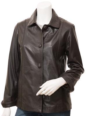 Women's Brown Leather Jacket: Cusseta