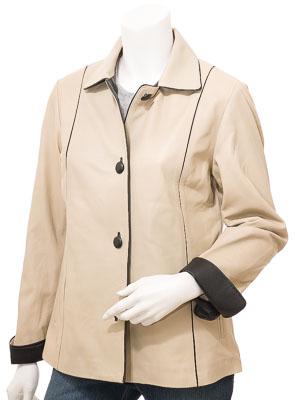 Women's Beige & Black Leather Jacket: Cusseta