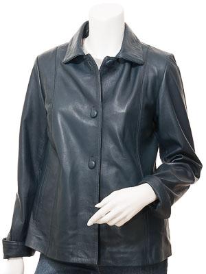 Women's Leather Jacket in Navy: Cusseta