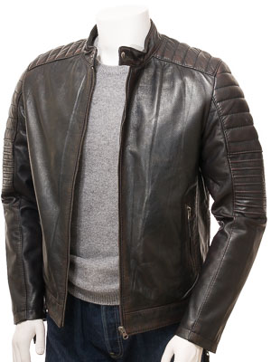 Men's Brown Leather Biker Jacket: Dousland
