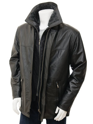 Men's Black Leather Coat: Erfut