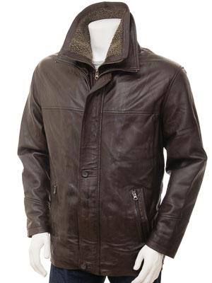 Mens Brown Leather Coat: Erfut