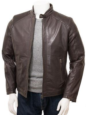 Men's Brown Leather Biker Jacket: Filleigh
