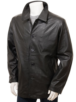 Men's Black Leather Coat: Fremington