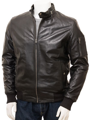 Men's Black Leather Jacket: Galmpton