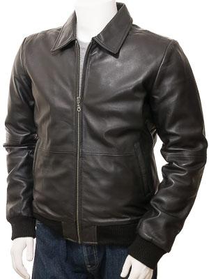 Men's Black Leather Bomber Jacket: Gidleigh
