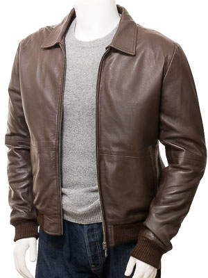 Men's Brown Leather Bomber Jacket: Gidleigh