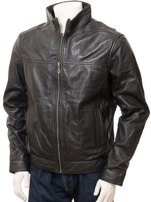Men's Leather Biker Jacket in Black: Gittisham
