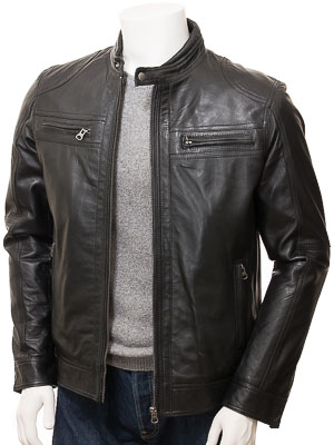 Men's Black Leather Biker Jacket: Gooseham