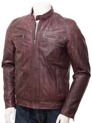 Men's Burgundy Leather Biker Jacket: Gooseham
