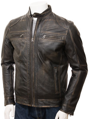 Men's Vintage Leather Biker Jacket: Gooseham