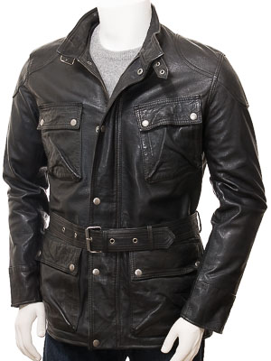 Men's Black Leather Jacket: Huntshaw
