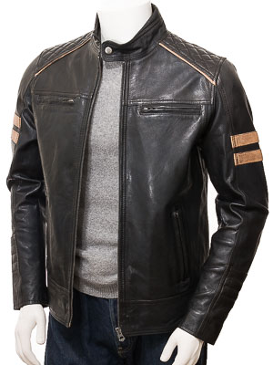Men's Black Leather Biker Jacket: Iddesleigh