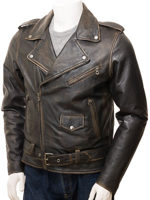 Men's Vintage Leather Biker Jacket: Ilsington