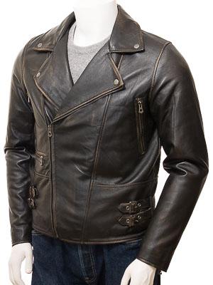 Men's Vintage Leather Biker Jacket: Instow