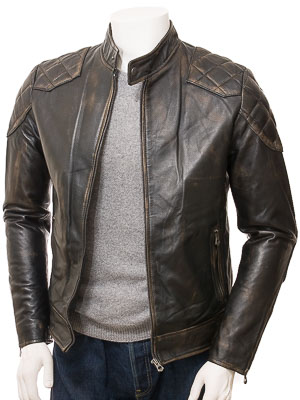 Men's Vintage Leather Biker Jacket: Ipplepen