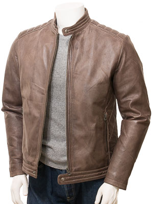 Men's Brown Leather Jacket: Jacobstowe