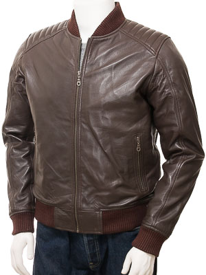 Men's Brown Leather Bomber Jacket: Lifton