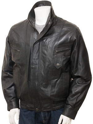 Men's Black Leather Blouson: Littleham