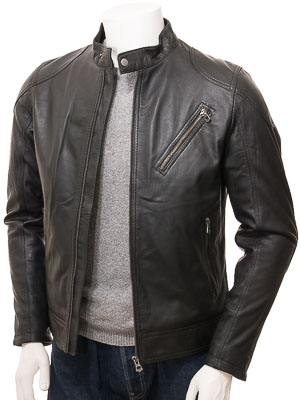Men's Black Leather Biker Jacket: Longdown