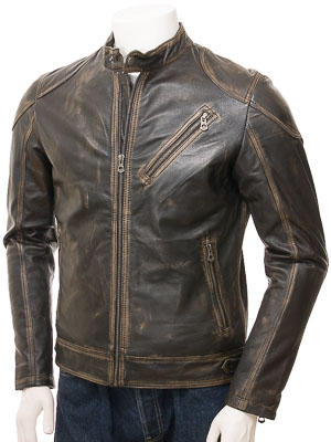 Men's Vintage Leather Biker Jacket: Longdown