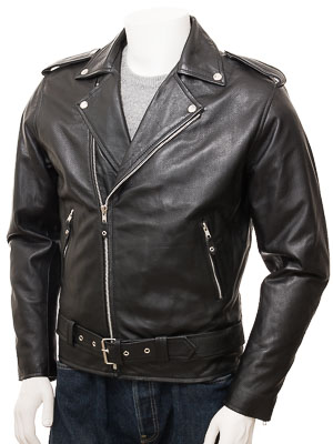 Men's Black Leather Biker Jacket: Loxhore