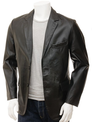 Men's Leather Blazer in Black: Magdeburg
