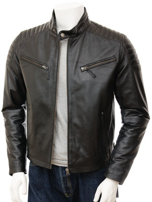 Men's Black Leather Biker Jacket: Maikop