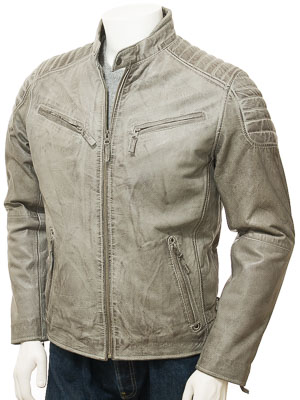Men's Grey Leather Biker Jacket: Maikop
