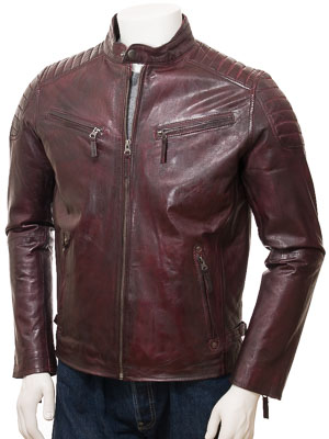 Men's Oxblood Leather Biker Jacket: Maikop