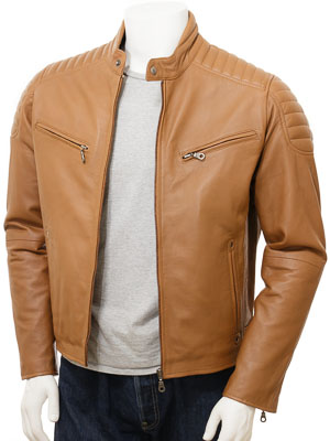Men's Tan Leather Biker Jacket: Maikop