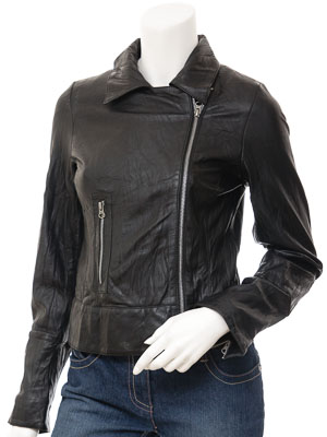 Women's Black Leather Biker Jacket: Montreal