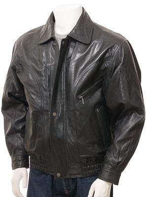 Mens Leather Bomber Jacket in Black: Perugia