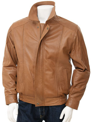 Mens Tan Cognac Leather Jacket: Rennes