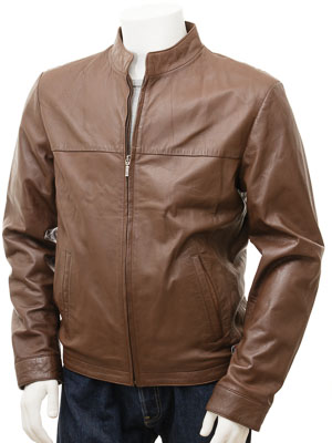Men's Leather Jacket in Brown: Rovno