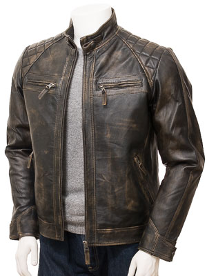 Men's Vintage Leather Biker Jacket: Sibiu