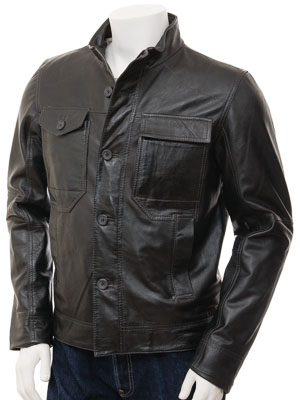 Mens Leather Jacket in Anthracite: Solingen