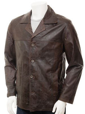 Men's Brown Leather Reefer Jacket: Zurich