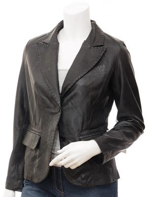 Womens Leather Blazer in Black: Aliceville