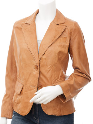 Womens Leather Blazer in Tan: Aliceville