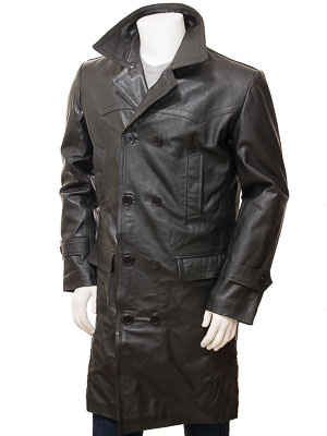 Men's Black Leather Trench Coat: Ashton