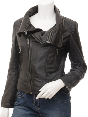 Womens Leather Jacket in Black: Auburn