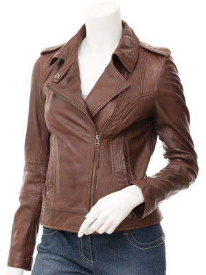 Women's Brown Leather Biker Jacket: Baileyton
