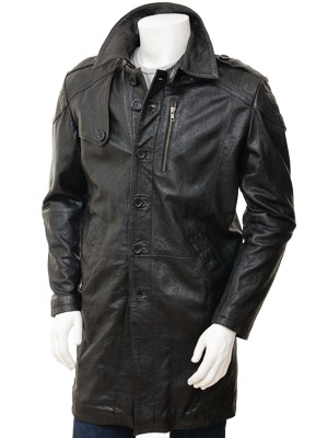 Mens Black Leather Trench Coat: Battledown