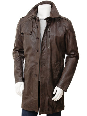 Mens Brown Leather Trench Coat Battledown Men Caine