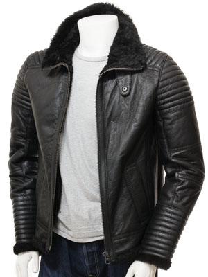 Mens Sheepskin Jacket in Black: Berrynarbor