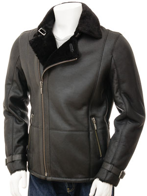 Mens Sheepskin Biker Jacket In Black Bickingcott Men Caine