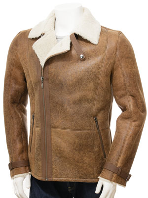 Mens Sheepskin Biker Jacket in Brown: Bickingcott