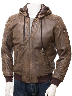 3046efad Men's Brown Leather Hooded Bomber Jacket: Bickington