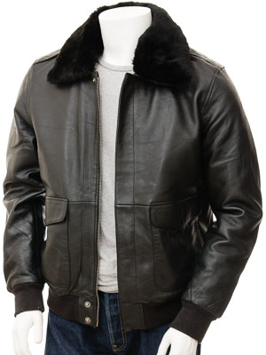 Mens Leather Flight Jacket in Black: Bolberry